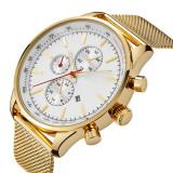 Jual Beli Online Tinggi Kualitas Ttlife Fashion Brand Men Usaha Mesh Paduan Gelang Jam Jendela Kalender Quartz Watch Emas