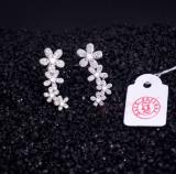 Berlapis Emas Putih Panjang Bunga Ear Hook Anting Promo Beli 1 Gratis 1