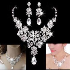 Berlian Imitasi Kristal Bridal Gaya Tetesan Air Daun Set Perhiasan Anting-anting Kalung Perhiasan Klasik, Terbuat dari Perak Putih Niceeshop