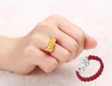 Harga Beruntung S999 3D Kecil Murni Buatan Tangan Wanita Anyaman Berlapis Emas Cincin Cincin Tiongkok