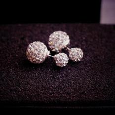 Besar Kecil 925 Sterling Perak Kristal Bola Bulat Breath Gypsophila Penuh Berlian Anting Mutiara Anting