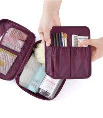 Cuci Gudang Best Cosmetic Multi Pouch Kosmetik Organizer Multifungsi Travel Monopoly Ungu