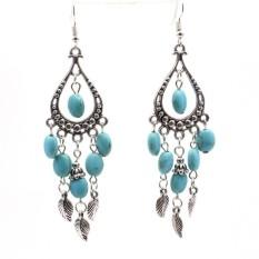 Terbaik Penjual Sunweb Wanita Gaya Antik Daun Tetesan Pirus Anting-Anting Panjang Perhiasan Anting-