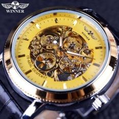 Terlaris Malaysia Skeleton Mewah Pria Otomatis Mekanik Jam Tangan Tali Emas Hitam Dial Allwin-Internasional