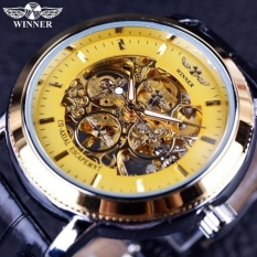 Terlaris Sport Malaysia Skeleton Mewah Pria Otomatis Mekanik Jam Tangan Tali Emas Hitam Dial Allwin-Internasional