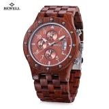 Jual Bewell Zs W109D Men Wooden Quartz Watch Bekerja Sub Dial Tanggal Jam Tangan Intl Baru