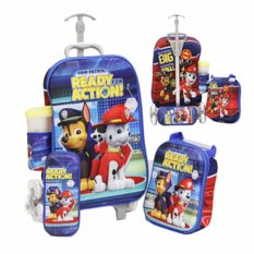 Diskon Bgc 4 In 1 Paw Patrol Koper Set Troley 6 Roda Lunch Bag Kotak Pensil Botol Minum Hard Cover Branded