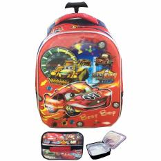 BGC 5 Dimensi Cars McQueen Best Race Tas Troley Anak TK IMPORT + Lunch Bag Aluminium