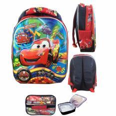 BGC 5 Dimensi Cars McQueen Tas Ransel Anak TK IMPORT + Lunch Bag ALuminium Tahan Panas -  Full Motif Cars
