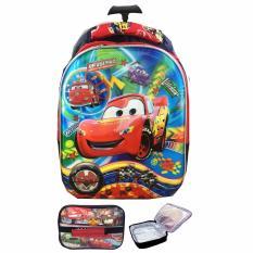 BGC 5 Dimensi Cars McQueen Tas Troley Anak TK IMPORT + Lunch Bag Aluminium Tahan Panas