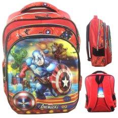 BGC 5 Dimensi Gambar Rubah Rubah Avenger Captain America Iron Man Hulk IMPORT Tas Ransel Anak Sekolah SD - Black Red Full Motif