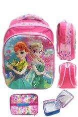 BGC 5 Dimensi Gambar Rubah Rubah Disney Frozen Fever 2 Kantung Timbul IMPORT Tas Ransel Anak Sekolah SD + Lunch Bag Aluminium Tahan Panas - Motif Elsa Pink