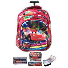 BGC 5 Dimensi Gambar Rubah2 Cars Lightning McQueen Tas Troley Anak Sekolah TK 3 Kantung IMPORT