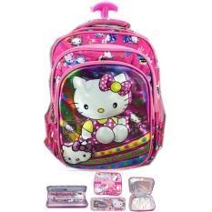 BGC 5 Dimensi Gambar Rubah2 Hello KittyTas Troley Anak Sekolah TK 3 Kantung IMPORT + Lunch