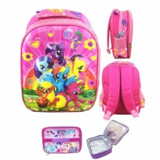Jual Bgc 5 Dimensi My Little Pony Flower2 Tas Ransel Anak Tk Import Lunch Bag Aluminium Tahan Panas Full Motif Pony Bgc