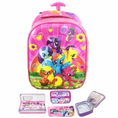 BGC 5 Dimensi My Little Pony Flower2 Tas Troley Anak TK IMPORT + Lunch Bag Aluminium