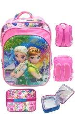 BGC 6 Dimensi Bantalan Punggung Disney Frozen Fever 4 Kantung Timbul IMPORT Tas Ransel Anak Sekolah