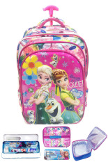 BGC 6 Dimensi Bantalan Punggung Disney Frozen Fever 4 Kantung Timbul IMPORT Tas Troley Anak Sekolah