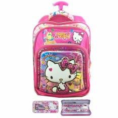 BGC 6 Dimensi Bantalan Punggung Hello Kitty 4 Kantung Timbul IMPORT Tas Troley Anak Sekolah SD
