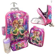 Review Bgc 6 Dimensi Lapisan Anti Gores 2 Kantung 4 In 1 Disney Frozen Fever Koper Set Troley T 6 Roda Lunch Bag Kotak Pensil Botol Minumhard Cover Import
