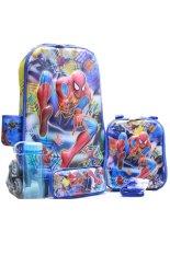 Toko Bgc 6 Dimensi Lapisan Anti Gores 4 In 1 Spiderman Spider Blue Koper Set Troley T 6 Roda Lunch Bag Kotak Pensil Botol Minum Hard Cover Import Bgc Online