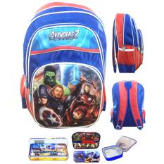 BGC Avenger Captain America Iron Man 3 Kantung Full Sateen Tas Ransel Anak Sekolah SD + Lunch Bag Aluminium Tahan Panas + Kotak Pensil Alat Tulis