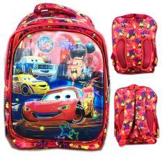 BGC Bantalan PunggungCars Lightning McQueen 5 Dimensi 4 Kantung Tas Ransel Anak Sekolah SD - Full