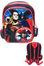 BGC Batman Vs Superman Kantung Depan Full Saten IMPORT Tas Ransel Anak Sekolah TK