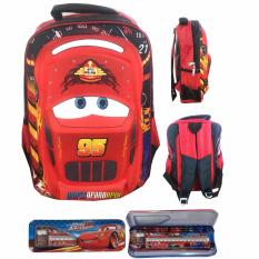 BGC Cars Lightning McQueen 3D Timbul Hard Cover Tas Ransel Sekolah Anak SD + Kotak Pensil Alat Tulis