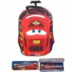 BGC Cars Lightning McQueen 3D Timbul Hard Cover Tas Troley Sekolah Anak SD + Kotak Pensil Alat Tulis