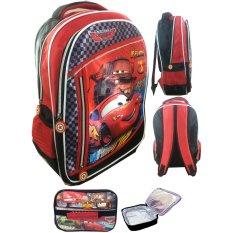 Jual Bgc Cars Mcqueen 3 Kantung Catur Full Sateen Import Tas Ransel Sekolah Anak Sd Lunch Bag Aluminium Tahan Panas Satu Set