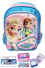 Jual Bgc Disney Frozen Fever Elsa Anna 3 Kantung Depan Full Saten Import Tas Ransel Anak Sekolah Tk Lunch Bag Aluminium Tahan Panas Kotak Pensil Alat Tulis Original