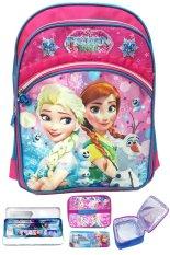 Bgc Disney Frozen Fever Elsa Anna 3 Kantung Tas Ransel Anak Sekolah Sd Set Dengan Lunch Bag Aluminium Tahan Panas Import Kotak Pensil Alat Tulis Pink Renda Banten Diskon