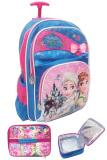 Toko Bgc Disney Frozen Fever Elsa Anna 3 Kantung Tas Troley Anak Sekolah Sd Set Dengan Lunch Bag Lapis Aluminium Import Blue Pink Pita Termurah Banten