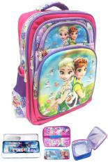 BGC Disney Frozen Fever Elsa Anna 5 Dimensi Hologram Butterfly Gambar Rubah Rubah Tas Ransel Anak Sekolah SD + Lunch Bag Aluminium Tahan Panas + Kotak Pensil + Alat Tulis