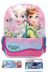 Bgc Disney Frozen Fever Elsa Anna Kantung Depan Tas Ransel Anak Tk Kotak Pensil Alat Tulis Blue Pink Asli