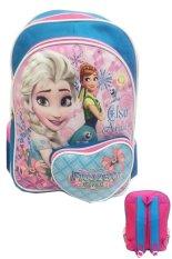 BGC Disney Frozen Fever Love Bahan Saten Berkualitas Tas Ransel Anak Sekolah SD - Blue Pink Love