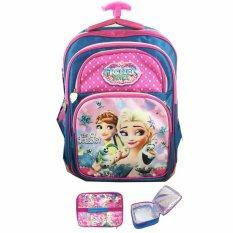 BGC Frozen FeverTas Troley Anak Sekolah SD + Lunch Bag Aluminium Tahan Panas - Blue Pink Prada