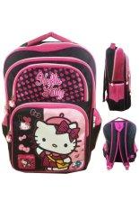 BGC Hello Kitty 4 Kantung IMPORT Tas Ransel Anak Sekolah SD - Black Pink Prada