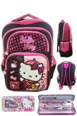 BGC Hello Kitty 4 Kantung IMPORT Tas Ransel Anak Sekolah SD + Kotak Pensil Alat Tulis - Black Pink Prada