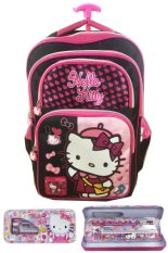 Beli Bgc Hello Kitty 4 Kantung Import Tas Troley Anak Sekolah Sd Kotak Pensil Alat Tulis Black Pink Prada Baru