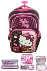 BGC Hello Kitty 4 Kantung IMPORT Tas Troley Anak Sekolah SD + Lunch Bag Aluminium Tahan Panas + Kotak Pensil Alat Tulis - Black Pink Prada