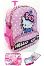 BGC Hello Kitty Love 3D Timbul Tas Troley Sekolah Anak TK Polkadot + Lunch Bag Aluminium Tahan Panas - Rose Gold
