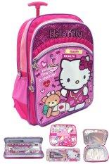 Dapatkan Segera Bgc Hello Kitty Renda 3 Kantung Tas Troley Anak Sekolah Sd Lunch Bag Aluminium Tahan Panas Kotak Pensil Alat Tulis