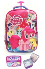 BGC My Little Pony 3D Boneka Timbul Hard Cover Tas Troley Sekolah Anak SD  + Lunch Bag ALuminium Tahan Panas