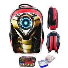 Jual Bgc Tas Ransel Sekolah Anak Sd Iron Man Mark47Otot 3D Timbul Lunch Bag Aluminium Tahan Panas Black Red Antik
