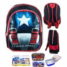 Review Toko Bgc Tas Ransel Sekolah Anak Tk Captain America Otot Lunch Bag Aluminium Tahan Panas Kotak Pensil Alat Tulis Full Sateen