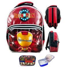 BGC Tas Ransel Sekolah Anak TK Iron Man Funko Rare 3D Timbul + Lunch Bag Aluminium Tahan Panas - Black Red