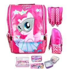 BGC Tas Ransel Sekolah Anak TK My Little Pony Pinkie Pie 3D Timbul Jepang + Lunch