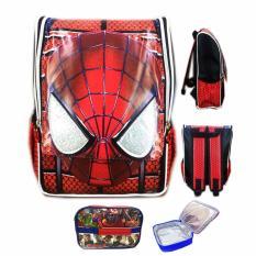 Jual Bgc Tas Ransel Sekolah Anak Tk Spiderman Muka 3D Timbul Lunch Bag Aluminium Tahan Panas Full Motif Spider Baru